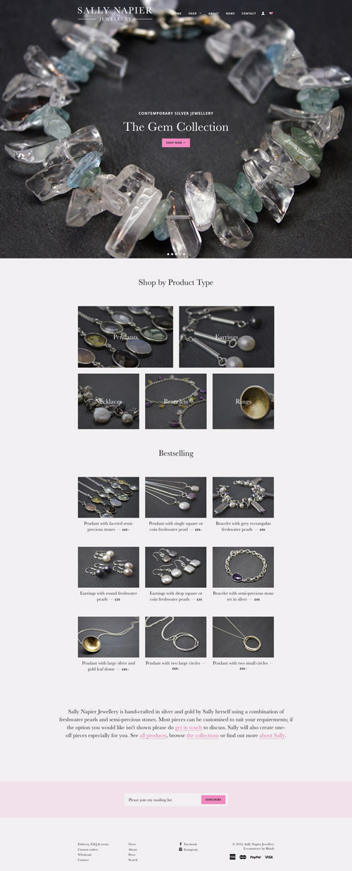 Sally Napier Jewellery Shopify website