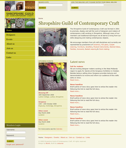 Shropshire Guild of Contemporary Craft website