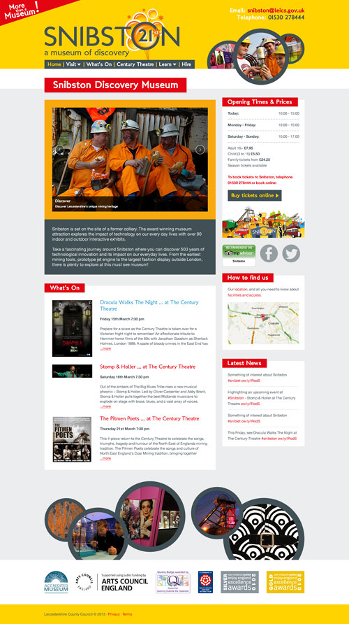 Snibston Discovery Museum website